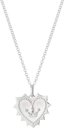 One And One Studio Sterling Silver Medallion Heart Pendant Necklace With Crown Symbol On Chain