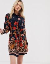 Brave Soul lioness shirt dress in mix print