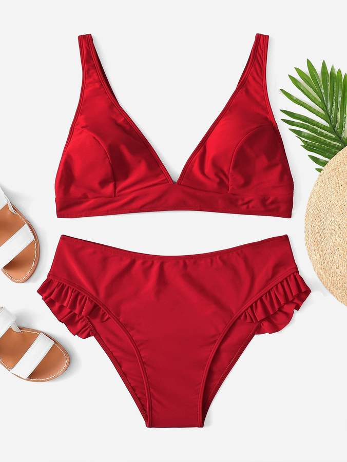 7a78f17a86 Red Ruffle Bikini Top - ShopStyle