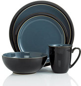 Denby Dinnerware, Duets Black and Blue 4 Piece Place Setting