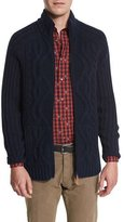 Robert Graham Heaton Cashmere Zip-Front Sweater, Navy