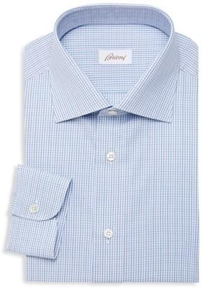 Brioni Grid-Check Cotton Dress Shirt