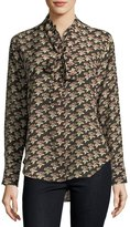 MiH Jeans Twigs Floral-Print Button-Front Silk Shirt