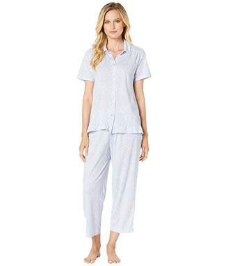 Carole Hochman Cotton Jersey Short Sleeve Top Capri Pants Pajama Set (White & Periwinkle Ditsy) Women's Pajama Sets