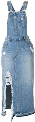 Sjyp Distressed Overall Denim Dress