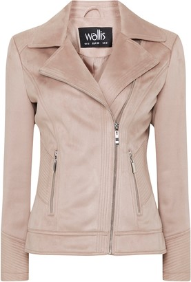 Wallis Pink Faux Suede Biker Jacket