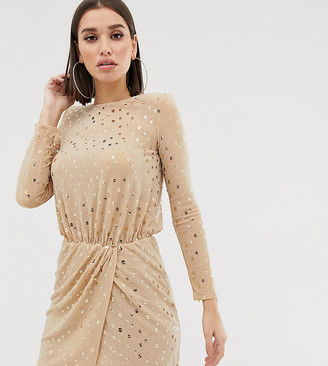 Flounce London sequin mini dress with shoulder pads in gold