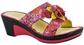 Alegria Lana Leather Floral Center Ornament Banded Slide On Wedge Sandals