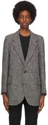 Ami Alexandre Mattiussi Black and White Wool Two-Button Short Coat