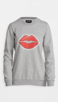 Markus Lupfer Anna Velvet Applique Lip Sweatshirt
