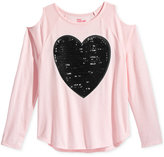 Epic Threads Cold-Shoulder Heart Graphic Sequin T-Shirt, Big Girls (7-16), Only at Macy's