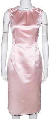 Dolce & Gabbana Light Pink Satin Sleeveless Sheath Dress M