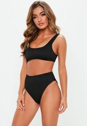 Missguided Rib Mix And Match Scoop Neck Bikini Top