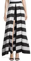 Alice + Olivia Mauri Split-Front Striped Skirt, Black/White