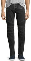 Hudson Blinder Biker Distressed Moto Jeans, Gray