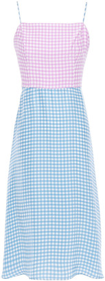 HVN Nora Bias Gingham Silk Crepe De Chine Dress