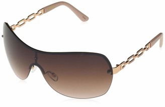 Southpole Women's 1023SP Over-Sized Metal Shield Sunglasses with Vented Metal Chain Link Temple and 100% UV Protection 70 mm