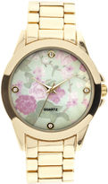 JCPenney FASHION WATCHES Womens Crystal-Accent Floral Dial Bracelet Watch