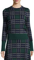 Cédric Charlier Knit Plaid Wool Sweater, Fantasy/Green