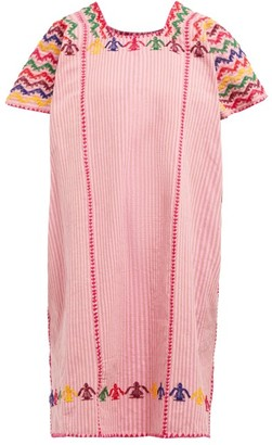 Pippa No.106 Embroidered Cotton Kaftan - Pink Multi