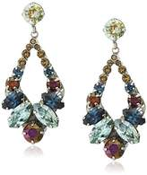 """Sorrelli Blue Brocade"""" Navette And Round Crystal Adornment Post Drop Earring"""