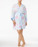 Miss Elaine Plus Size Mixed-Print Wrap Robe