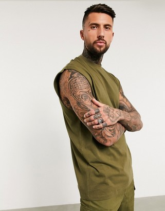 ASOS DESIGN organic oversized sleeveless t-shirt in khaki