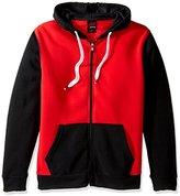 Southpole Men's Active Basic Hooded Fleece Full Zip, Black/Red, Medium