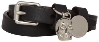 Alexander McQueen Black and Silver Skull Double-Wrap Bracelet