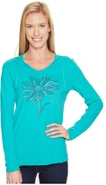 Life is Good Daisy Long Sleeve Hooded Smooth Tee