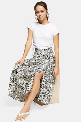 Topshop Womens Tall Black And White Animal Print Skirt - Monochrome