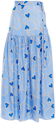 Chinti and Parker Gathered Printed Silk-twill Maxi Skirt