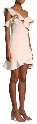 BCBGMAXAZRIA Asymmetric Ruffled Mini Dress