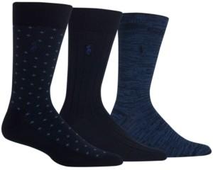 Polo Ralph Lauren Men's Diamond Dot Dress Socks, 3 Pack