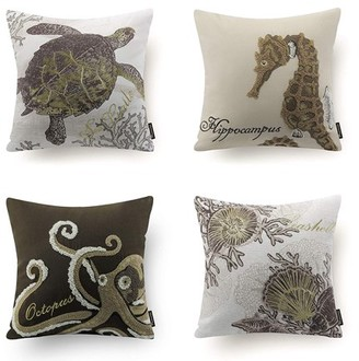 "BEIGE Phantoscope Ocean Series Decorative Throw Pillow Cover, 18"" x 18"", Embroidered Seahorse Turtle Octopus Scallop, 4 Set"