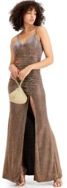 Emerald Sundae Juniors' Glitter-Knit Side-Cinch Gown