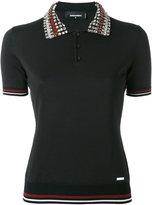 DSQUARED2 crystal collar polo shirt - women - Silk/Cotton/Polyester/Viscose - M