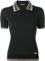 DSQUARED2 crystal collar polo shirt - women - Silk/Cotton/Polyester/Viscose - S