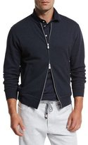 Brunello Cucinelli Zip-Front Spa Sweatshirt, Blue/Gray