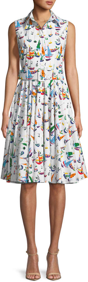 Samantha Sung Gigi Sleeveless Sailboat-Print Shirtdress