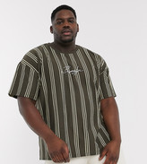 New Look Plus Brooklyn embroidered vertical stripe t-shirt in rust-Brown
