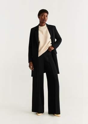 MANGO Lapelled straight-cut coat medium heather grey - XS - Women