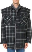 Balenciaga Men's Flannel Overshirt with Hood