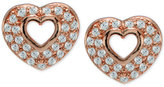 Giani Bernini Cubic Zirconia Pavé Open Heart Stud Earrings in 18k Rose Gold-Plated Sterling Silver, Only at Macy's