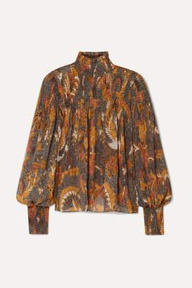 Ulla Johnson Dune Smocked Printed Cotton-blend Blouse - Brown