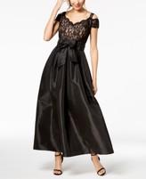R & M Richards Lace Cold-Shoulder Gown