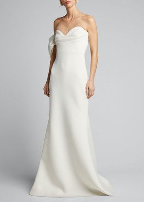 Badgley Mischka Asymmetric Bow Strapless Scuba Gown