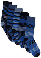 Yours Clothing BadRhino Plus Size Mens Striped 5 Pack Socks Comfortable Rib Top Cotton Blue