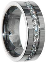 8mm Tungsten Carbide Cz Diamond Stone Men Wedding Ring Band Size (10.5)