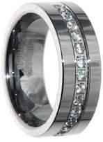CoolMetals 8mm Tungsten Carbide Cz Wedding Ring Band